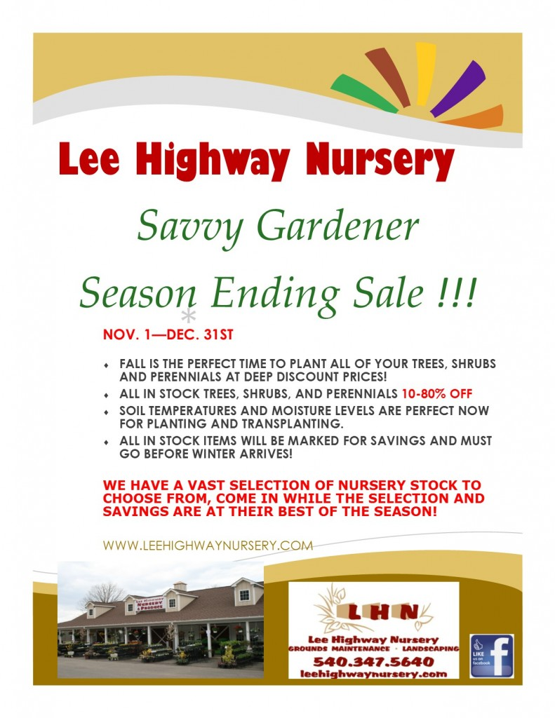 Lee Highway Nursery Savvy Gardener Sale
